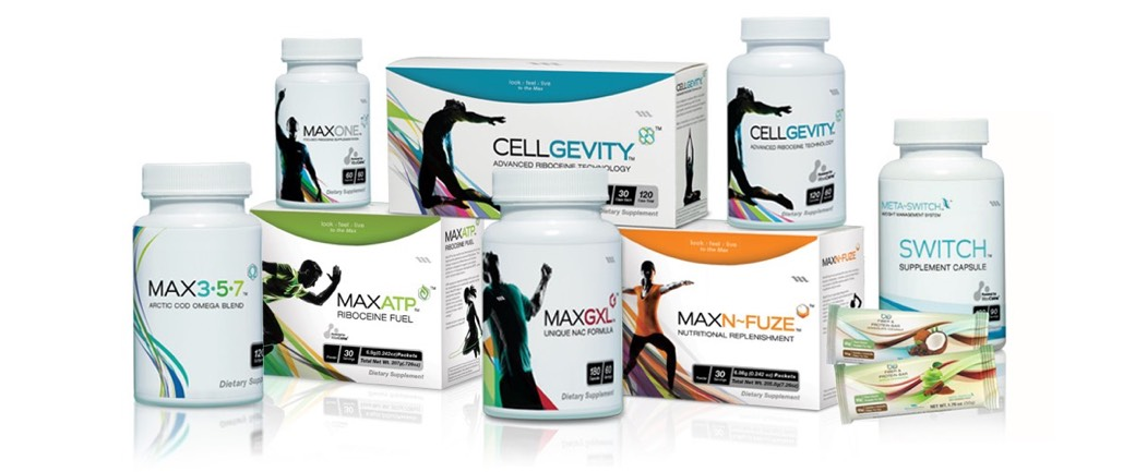 Max International product range includes glutathione enhancing nutritional supplements Cellgevity MaxATP and MaxONE powered by RiboCeine