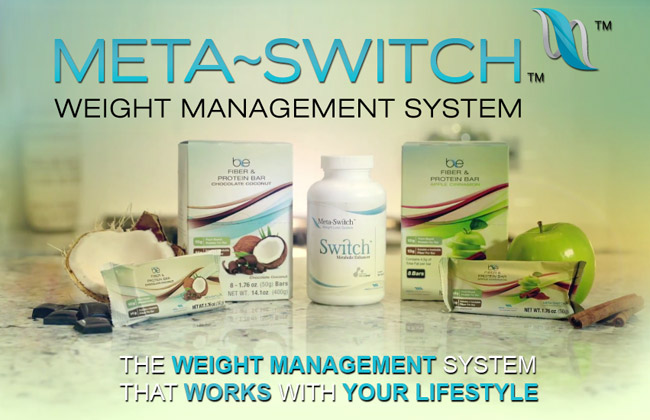 Meta-Switch weight management system using Glutathione and protein rich fiber bars to enhance your lifestyle